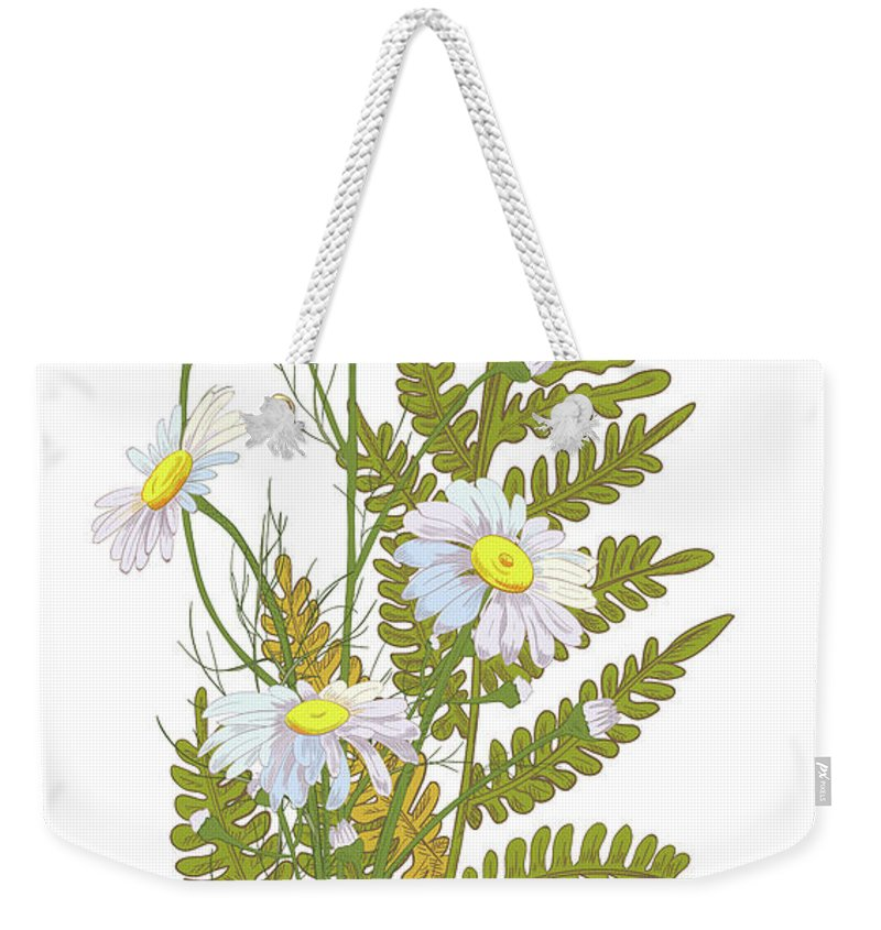 Flowerbed Weekender Tote Bag featuring the digital art Set Of Chamomile Daisy Bouquets White by Olga Ivanova