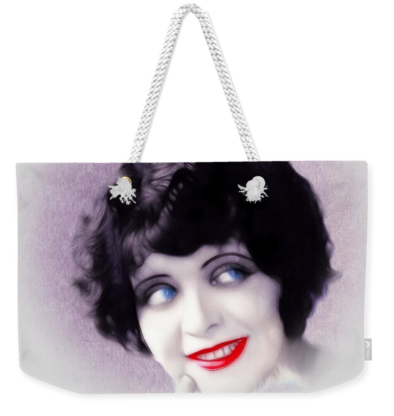 Clara Bow Actress Sexy Erotic Symbol Female Woman Girl Red Lips Bright Eyes Blue Painting Vintage American 20s 30s Hollywood Movie Star Famius Portrait Face Weekender Tote Bag featuring the painting Sexy 20s by Steve K