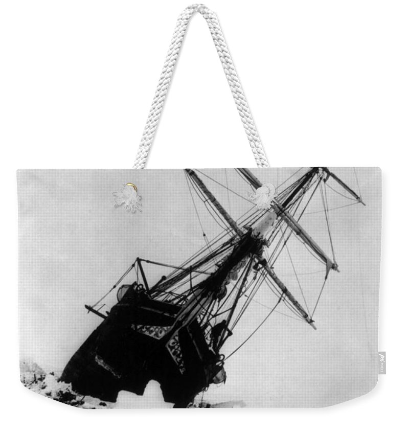 Navigation Weekender Tote Bag featuring the photograph Shackletons Endurance Trapped In Pack by Science Source