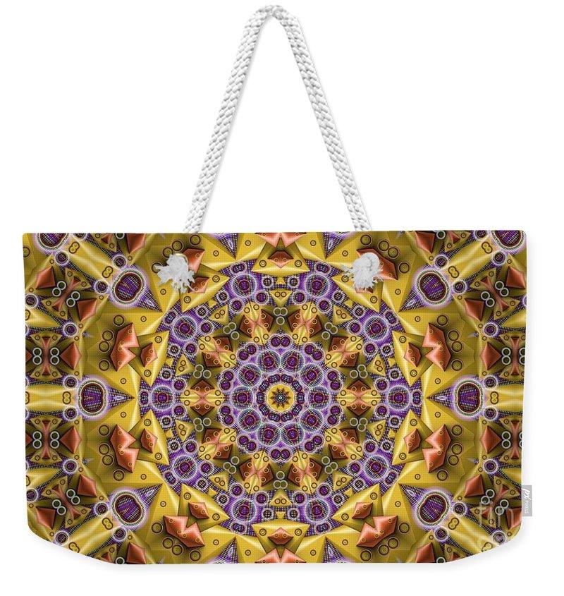Kaleidosope Weekender Tote Bag featuring the digital art Kaleidoscope 43 by Ron Bissett