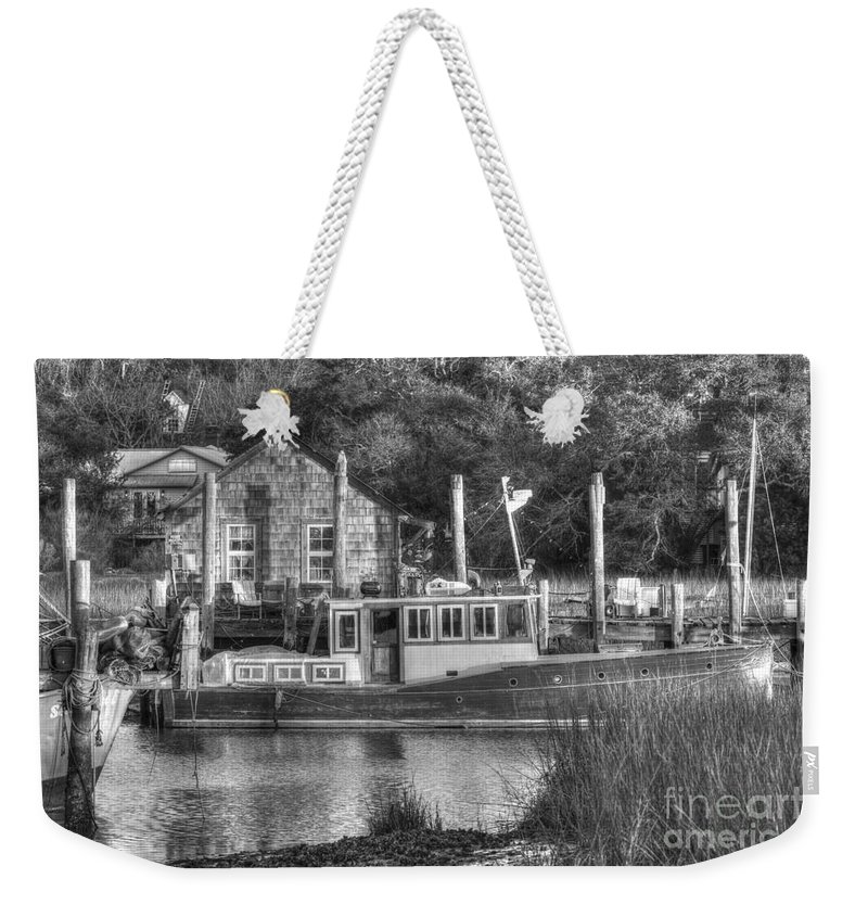 Shem Creek Weekender Tote Bag featuring the photograph Shem Creek In Black And White by Dale Powell