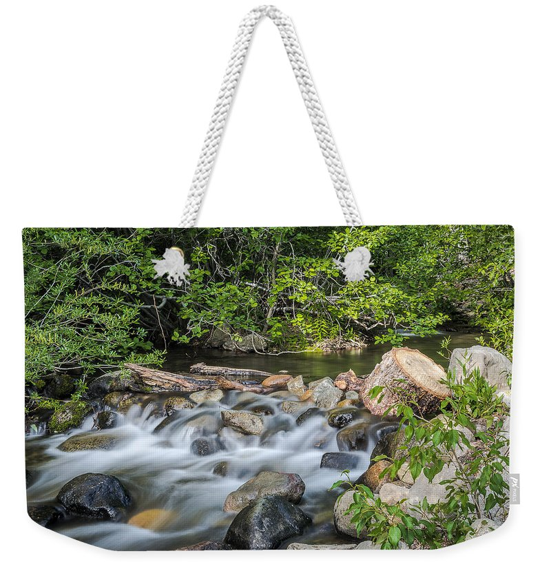 Landscape Weekender Tote Bag featuring the photograph Silky Water by Maria Coulson