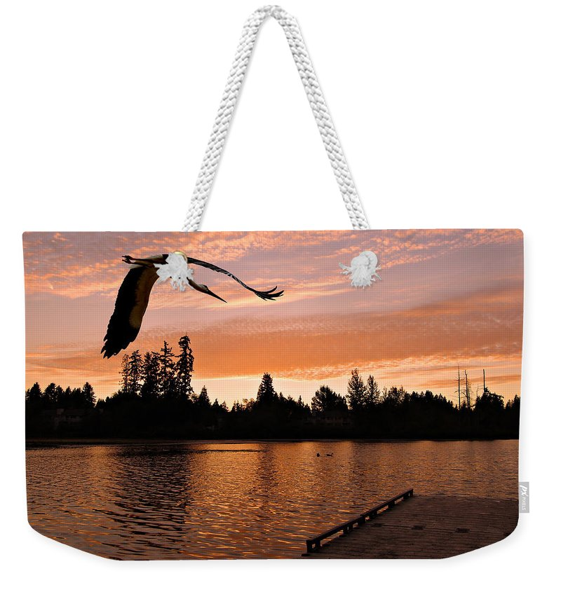 Landscape Weekender Tote Bag featuring the photograph Silver Lake Sunset by Paul Fell