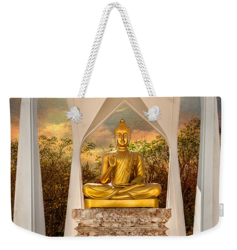 Hdr Weekender Tote Bag featuring the photograph Sitting Buddha by Adrian Evans