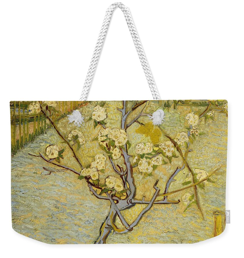 Vincent Van Gogh Weekender Tote Bag featuring the painting Small Pear Tree In Blossom by Vincent Van Gogh