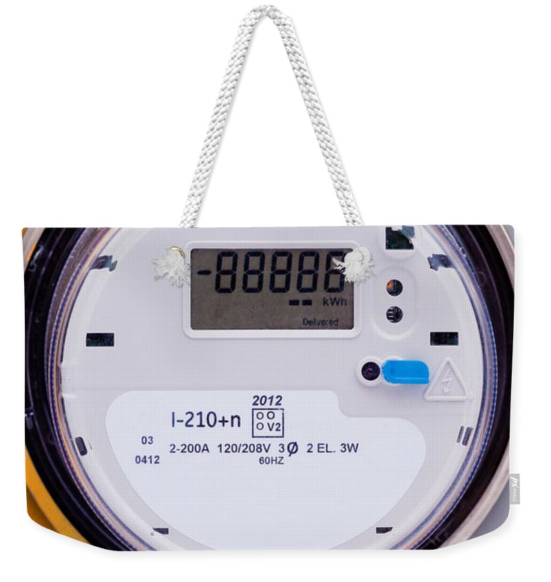 Amp Weekender Tote Bag featuring the photograph Smart Grid Residential Digital Power Supply Meter by Stephan Pietzko