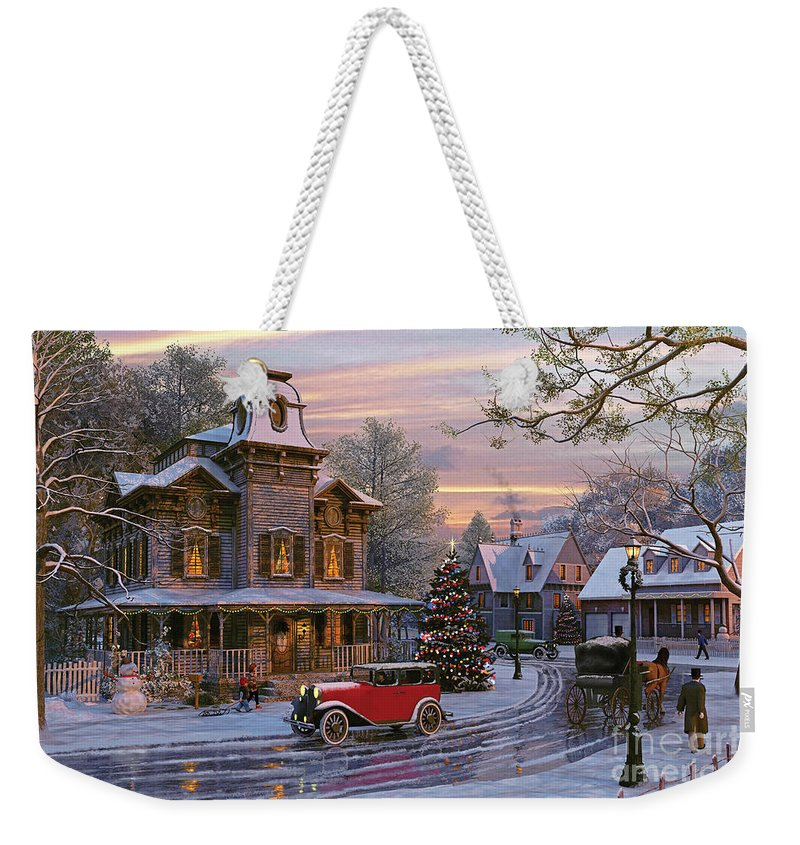 Dominic Davison Weekender Tote Bag featuring the digital art Snow Streets by MGL Meiklejohn Graphics Licensing