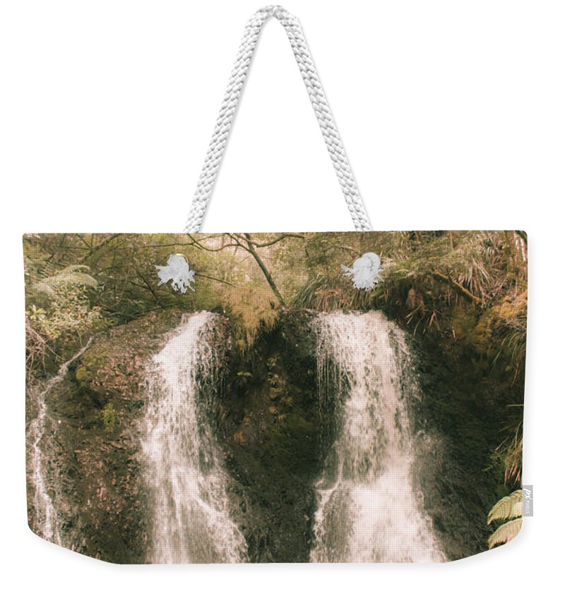Waterfall Weekender Tote Bag featuring the photograph Soft Vintage Forest Waterfall In Tasmania by Jorgo Photography - Wall Art Gallery