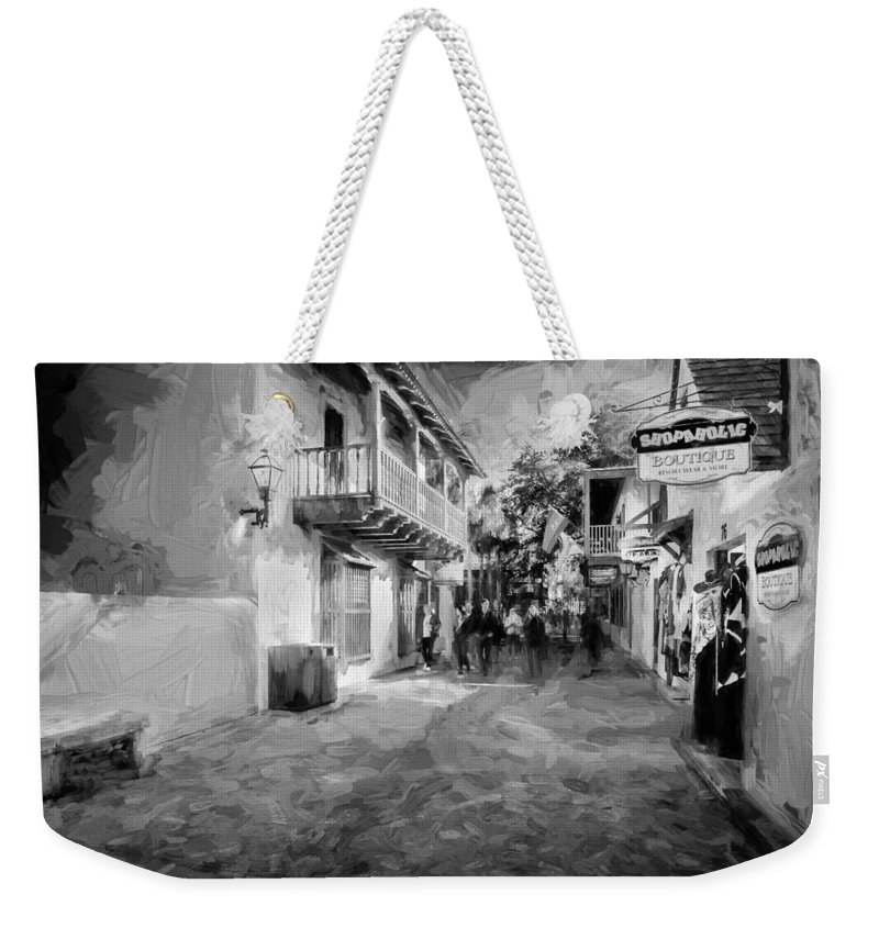 St. George Street Weekender Tote Bag featuring the photograph St George Street St Augustine Florida Painted Bw by Rich Franco