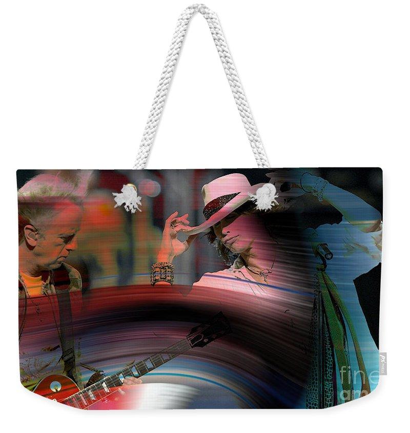 Steven Tyler Photographs Mixed Media Weekender Tote Bag featuring the mixed media Steven Tyler by Marvin Blaine