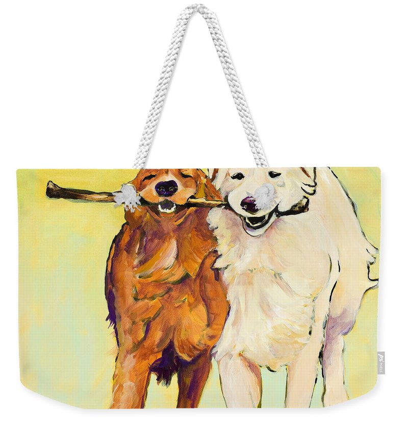 Pat Saunders-white Weekender Tote Bag featuring the painting Stick With Me by Pat Saunders-White