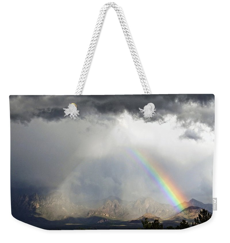 Mountain Weekender Tote Bag featuring the photograph Storm Over The Organ Mountains by Kurt Van Wagner