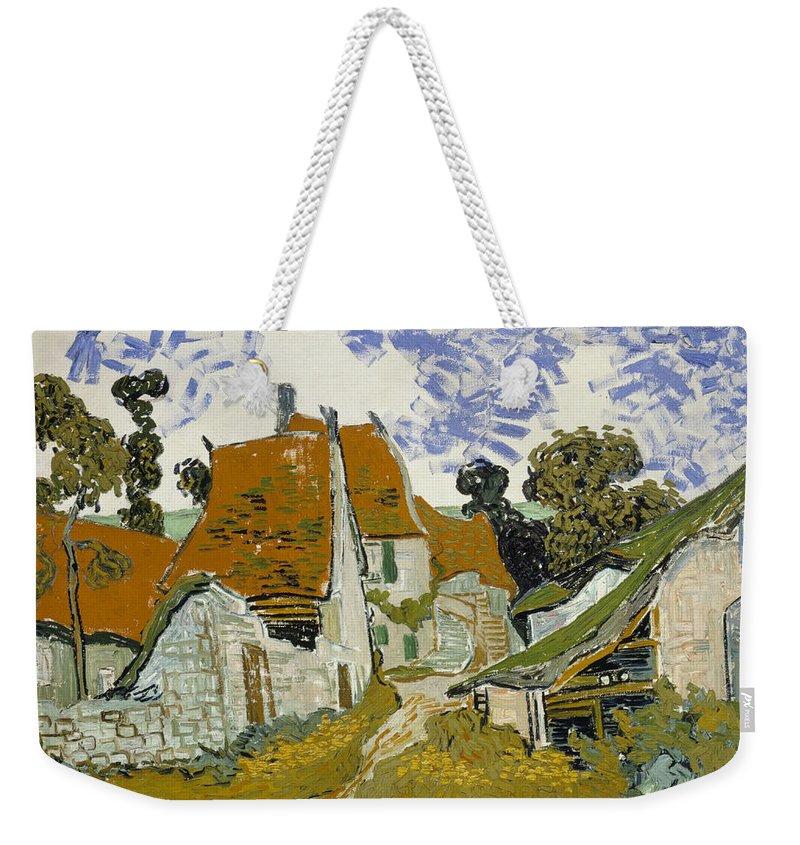 Vincent Van Gogh Weekender Tote Bag featuring the painting Street In Auvers-sur-oise by Vincent Van Gogh