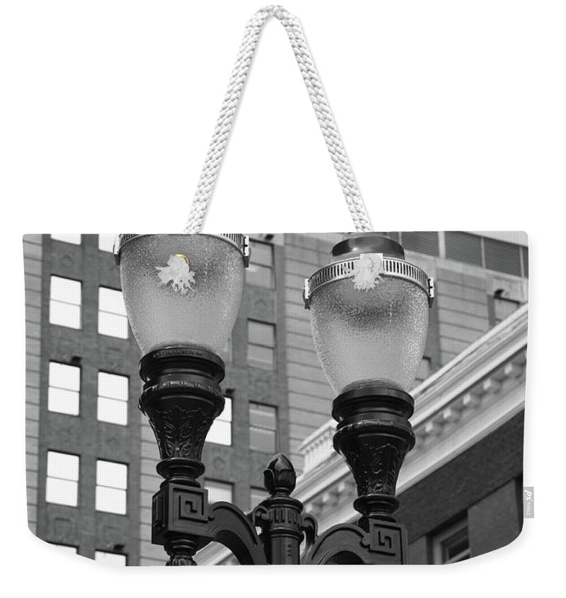 Antique Weekender Tote Bag featuring the photograph Streetlights - Lansing Michigan by Frank Romeo