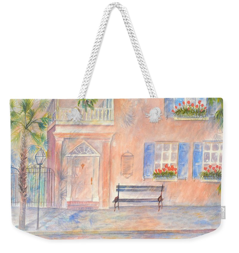 Charleston Weekender Tote Bag featuring the painting Sunday Morning in Charleston by Ben Kiger