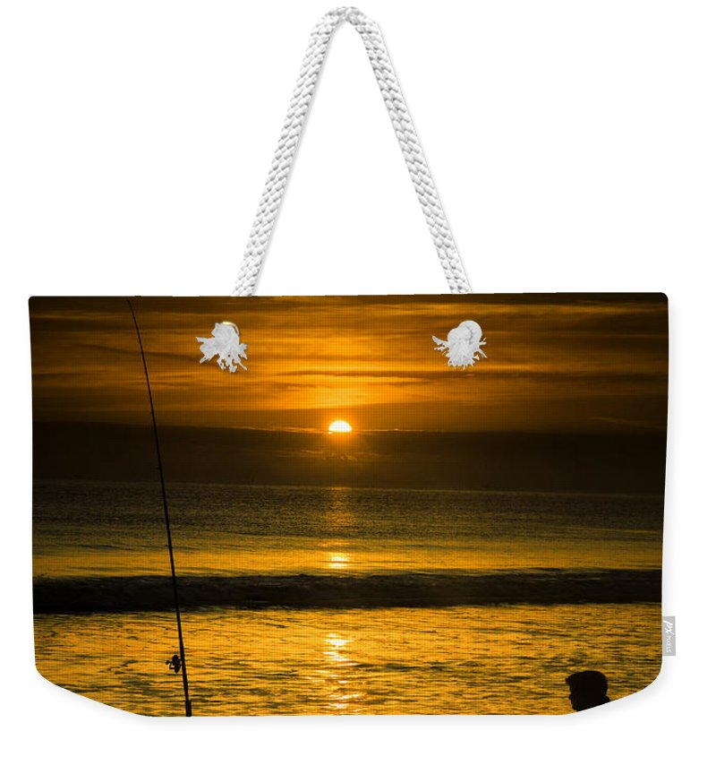 Landscape Weekender Tote Bag featuring the photograph Sunrise Fishing by Fran Gallogly