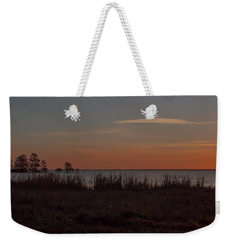 Sun Weekender Tote Bag featuring the photograph Sunrise On Lake Mattamuskeet by Scott Hervieux