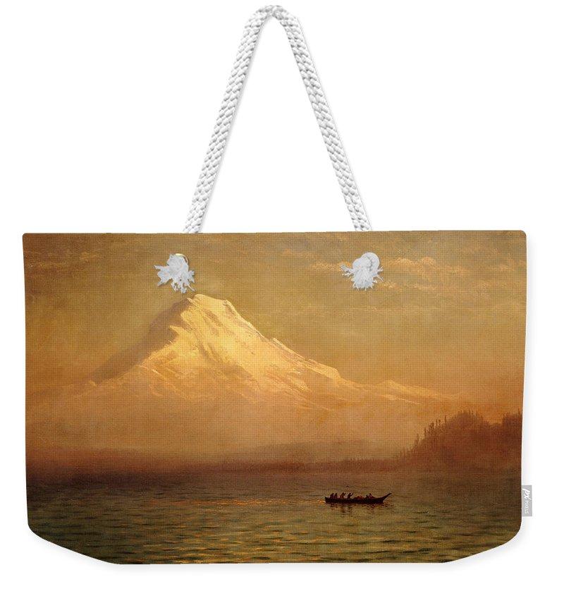 Albert Bierstadt Weekender Tote Bag featuring the painting Sunrise On Mount Tacoma by Albert Bierstadt