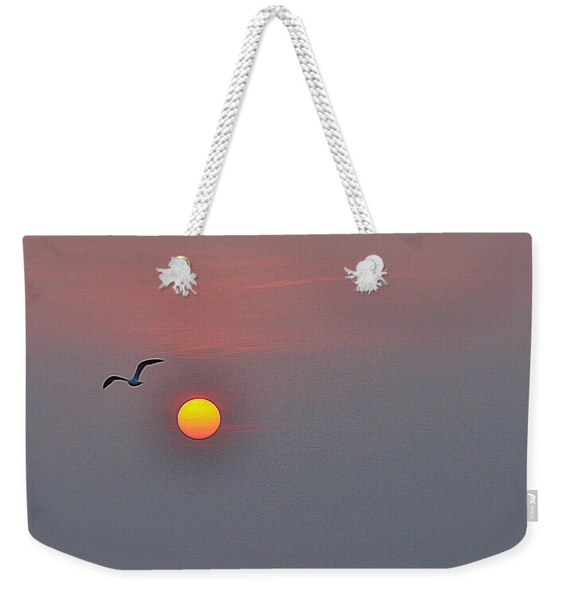 Sunset Weekender Tote Bag featuring the photograph Sunset Flight by Allen Beatty