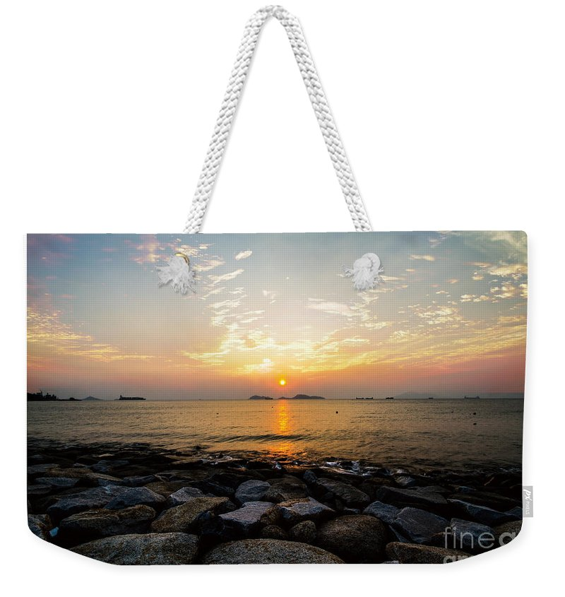Blue Weekender Tote Bag featuring the painting Sunset by Philip HP Wong