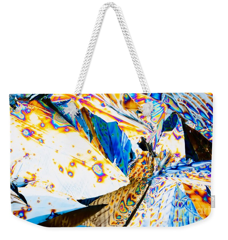 Abstract Weekender Tote Bag featuring the photograph Tartaric Acid Crystals In Polarized Light by Stephan Pietzko