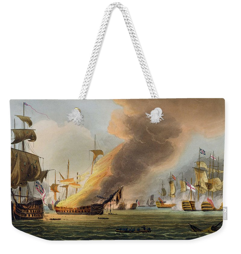 British Weekender Tote Bag featuring the painting The Battle Of Trafalgar by Thomas Whitcombe