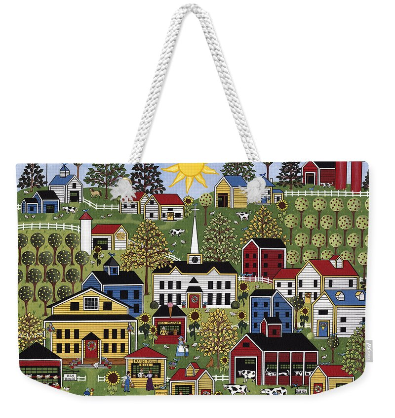 Folk Art Weekender Tote Bag featuring the painting The Dairy Festival by Medana Gabbard