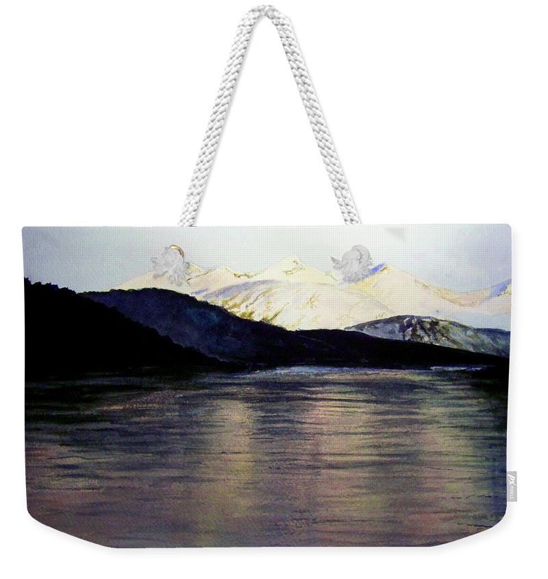 Watercolor Weekender Tote Bag featuring the painting The Deepening Day by Brenda Owen