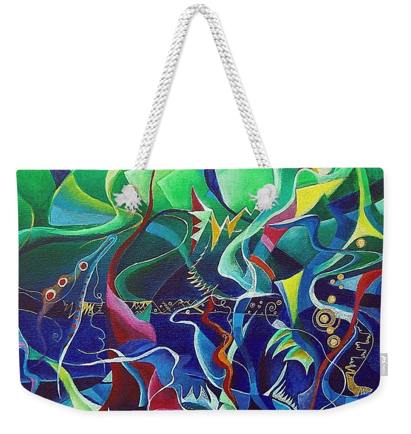 Darius Milhaud Weekender Tote Bag featuring the painting the dreams of Jacob by Wolfgang Schweizer