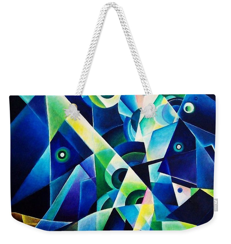 Gates Acrylics Abstract Weekender Tote Bag featuring the painting The Gates by Wolfgang Schweizer