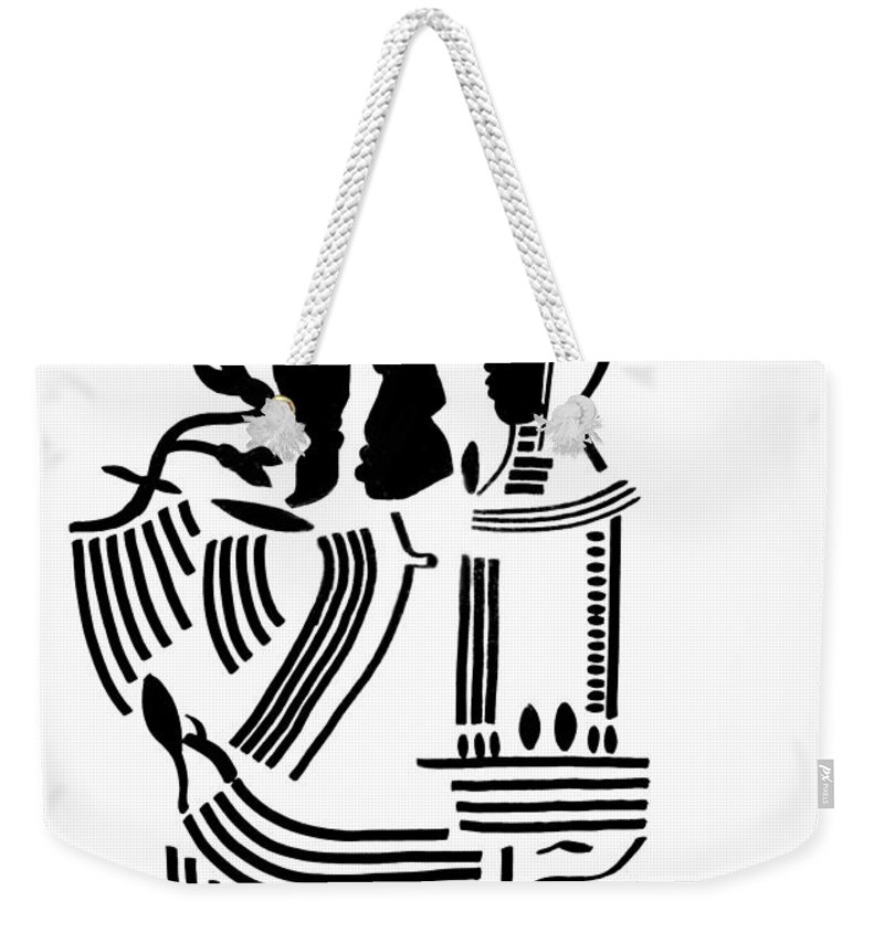 Jesus Weekender Tote Bag featuring the drawing The Holy Family by Gloria Ssali