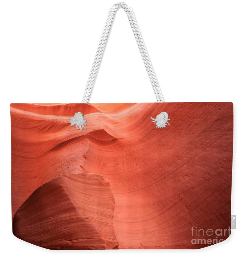 Arizona Slot Canyon Weekender Tote Bag featuring the photograph The Lone Rock by Adam Jewell