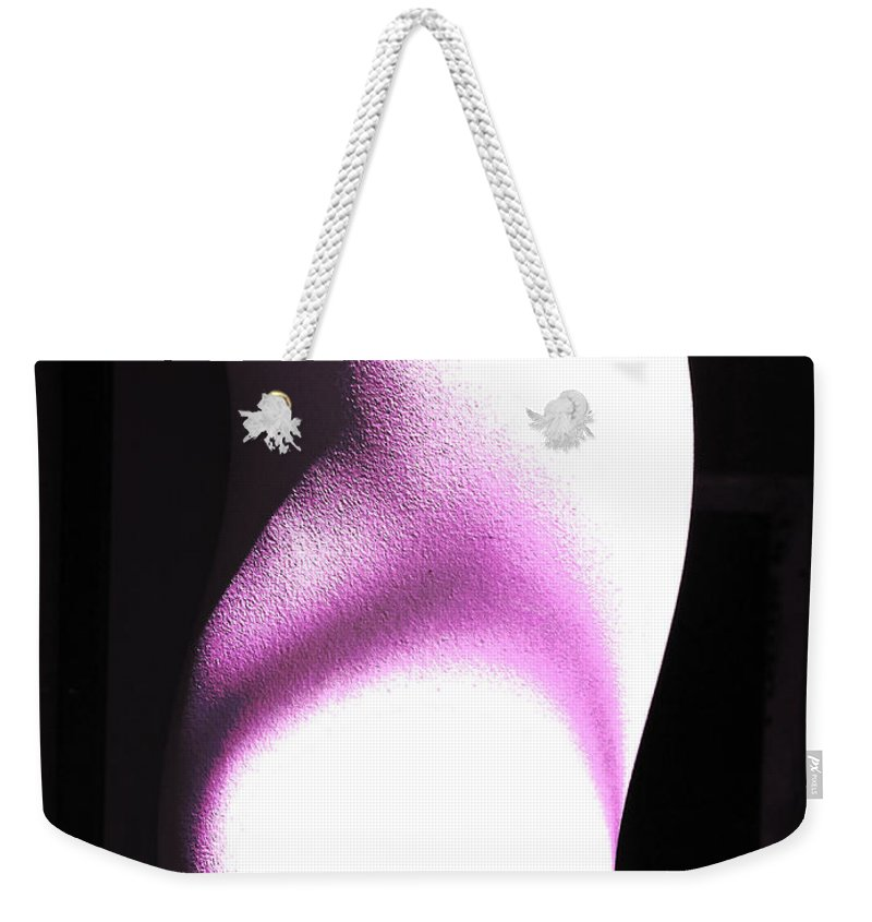 Feminine; Light; Shade; Purple; Texture; Cement; Concrete; Sexy; Column; Support; Leg; Waist; Buttock; Thong Weekender Tote Bag featuring the photograph The Model by Steve Taylor