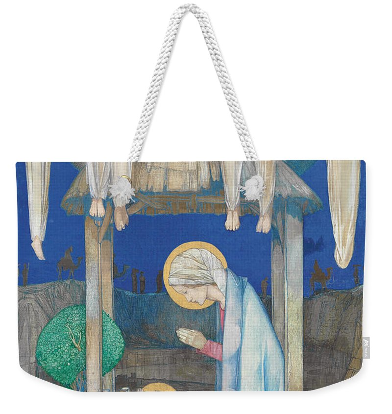 Nativity Weekender Tote Bag featuring the painting The Nativity by Edward Reginald Frampton