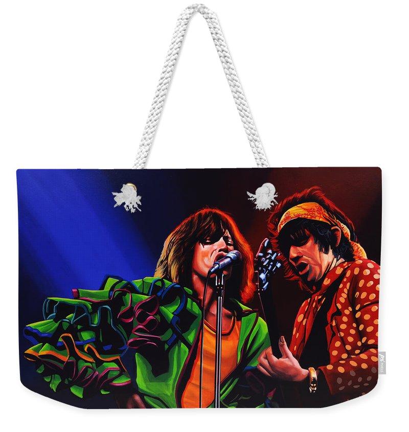The Rolling Stones Weekender Tote Bag featuring the painting The Rolling Stones 2 by Paul Meijering