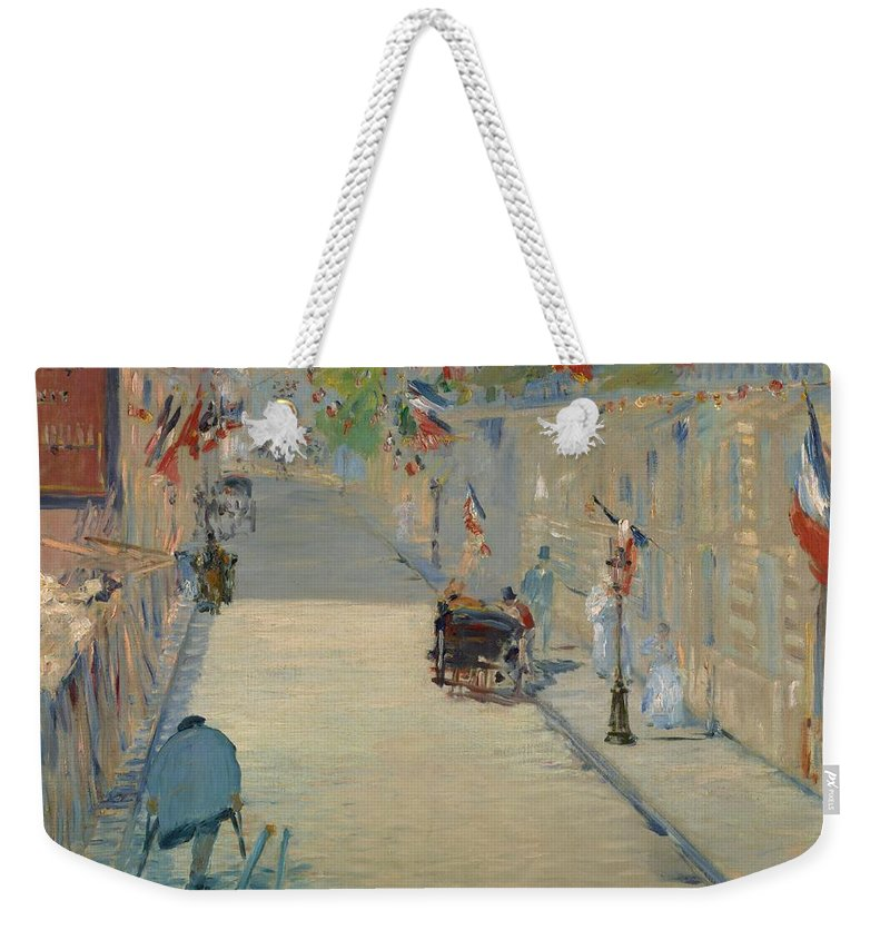 1878 Weekender Tote Bag featuring the painting The Rue Mosnier With Flags by Edouard Manet