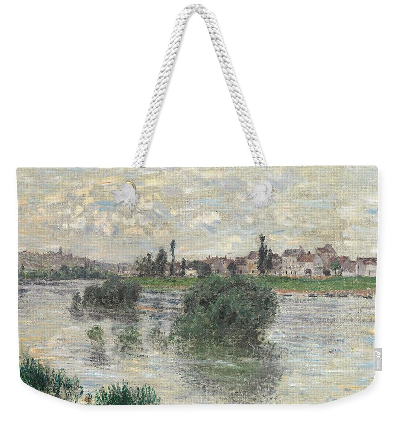 French Weekender Tote Bag featuring the painting The Seine At Lavacourt by Claude Monet