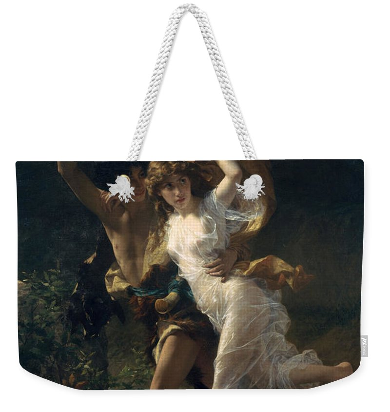 Pierre August Cot Weekender Tote Bag featuring the digital art The Storm by Pierre August Cot