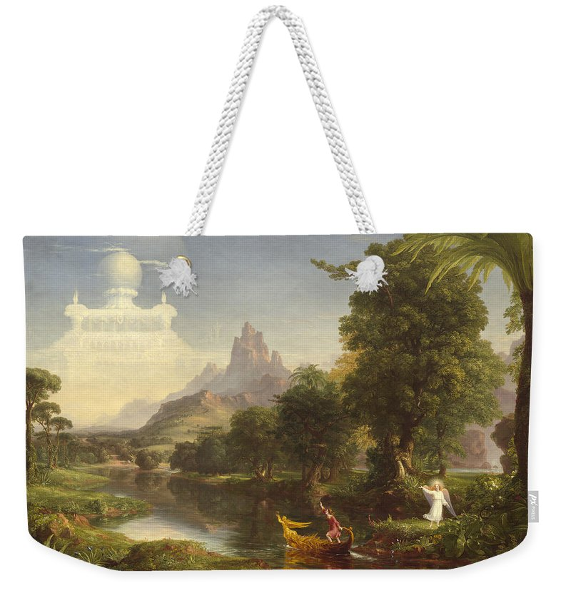 Thomas Cole Weekender Tote Bag featuring the painting The Voyage Of Life Youth by Thomas Cole