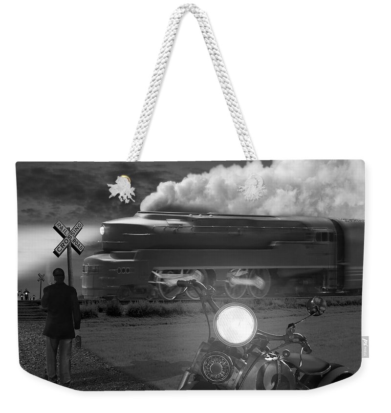 Transportation Weekender Tote Bag featuring the photograph The Wait by Mike McGlothlen