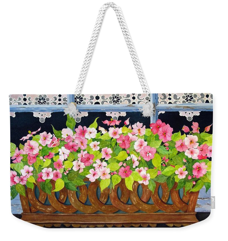 Impatients Weekender Tote Bag featuring the painting The Window Box by Mary Ellen Mueller Legault