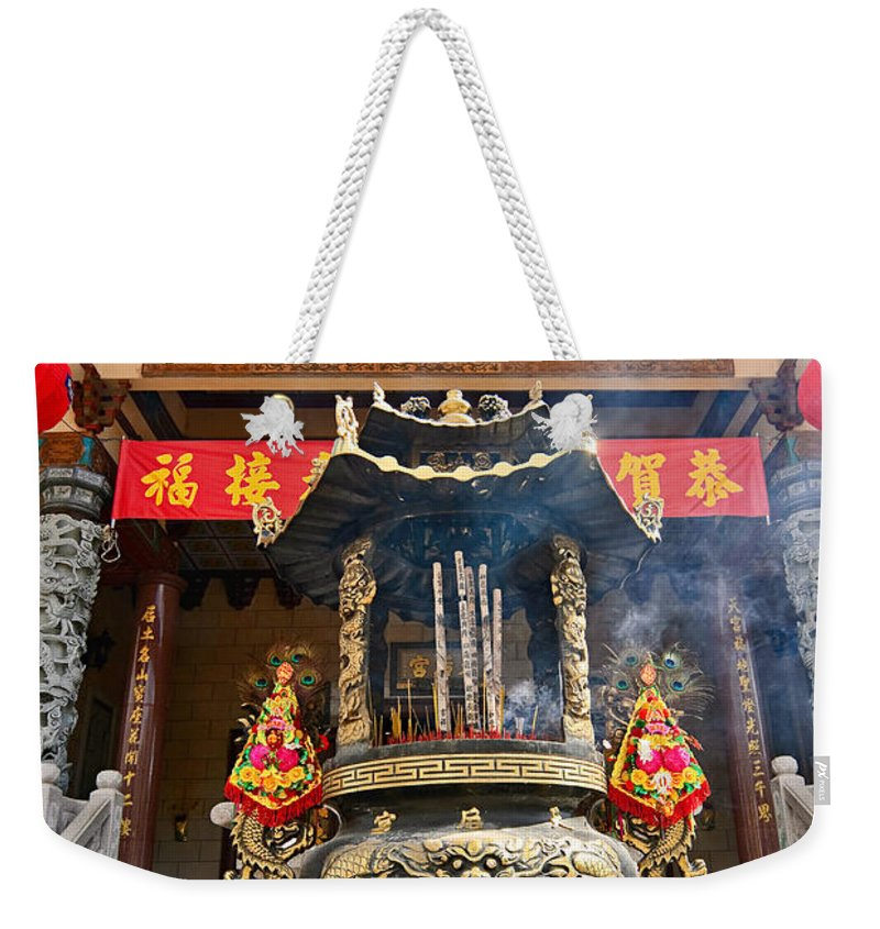 Taoist Weekender Tote Bag featuring the photograph Thien Hau Temple A Taoist Temple In Chinatown Of Los Angeles. by Jamie Pham