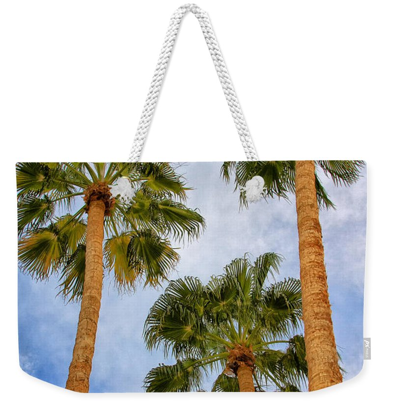 Palm Springs Weekender Tote Bag featuring the photograph THREE PALMS Palm Springs by William Dey