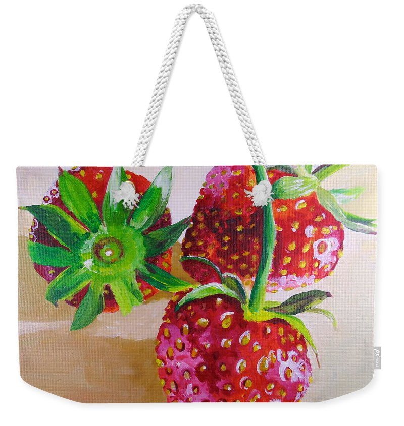 Weekender Tote Bag featuring the painting Three Strawberries by Pat Gerace