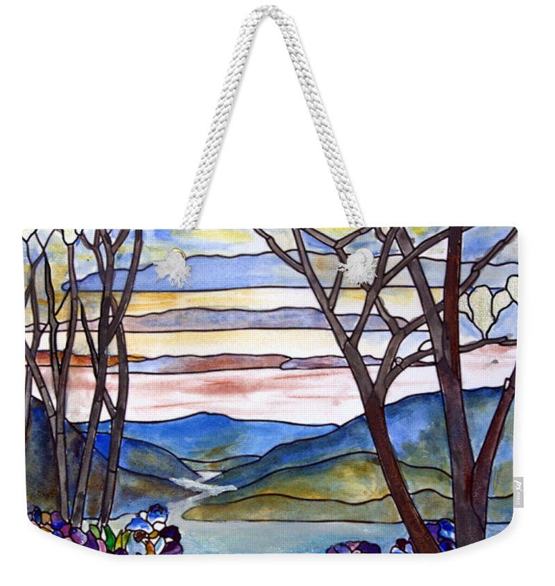 Stained Glass Paintings Weekender Tote Bag featuring the painting Stained Glass Tiffany Frank Memorial Window by Donna Walsh