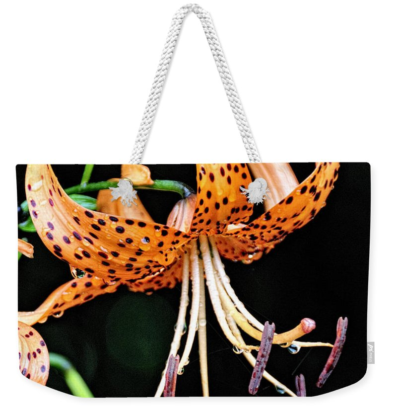 Flower Weekender Tote Bag featuring the photograph Tiger Lilly by David Arment