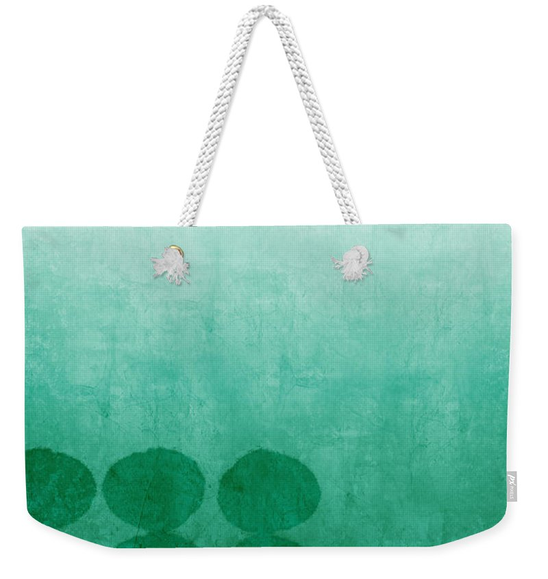 Abstract Weekender Tote Bag featuring the painting Tranquility by Linda Woods