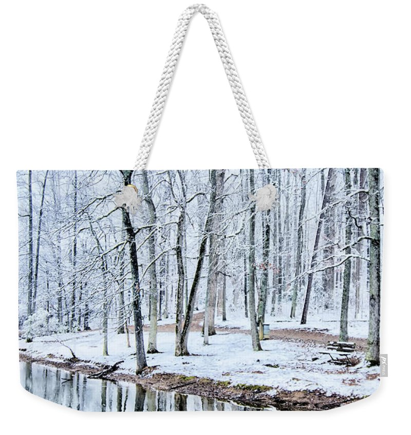 Tree Line Weekender Tote Bag featuring the photograph Tree Line Reflections In Lake During Winter Snow Storm by Alex Grichenko