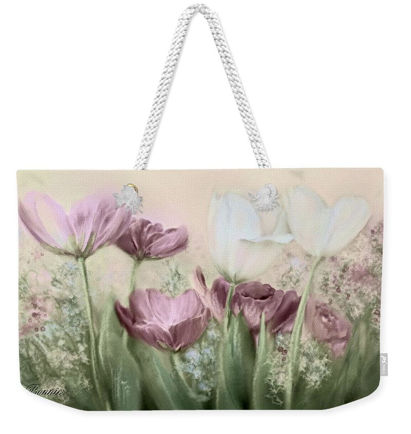 Tulip Weekender Tote Bag featuring the painting Tulip Garden by Bonnie Willis