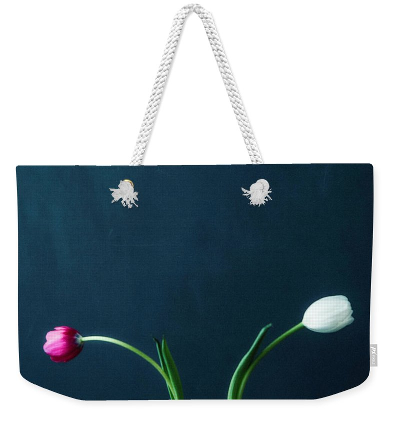 Mother's Day Weekender Tote Bag featuring the photograph Tulip Still Life For Mothers Day by Catlane